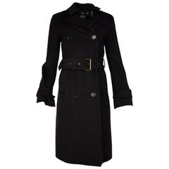 Akris Punto Brown Wool Double Breasted Trench Coat W/ Belt Sz 4