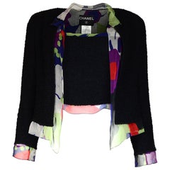 Chanel Black Boucle 3 Piece Set Jacket/Skirt/Top W/ Multicolor Silk Ruffle Sz 40