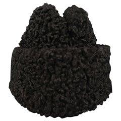 MILLER Size L Black Persian Lamb Fur Ambassador Hat