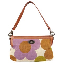 Vintage CELINE Tan Purple & Green Floral Print Canvas & Leather Shoulder Bag