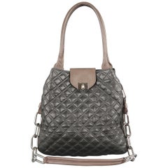 MARC JACOBS Charcoal & Taupe Quilted Leather Chain Strap Shoulder Bag