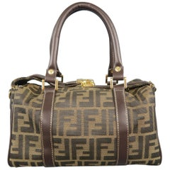 a2efd164a79c Fendi DotCom Convertible Satchel Leather Medium · FENDI Zucca Monogram  Canvas   Brown Leather 2-Way Mini Boston Bag
