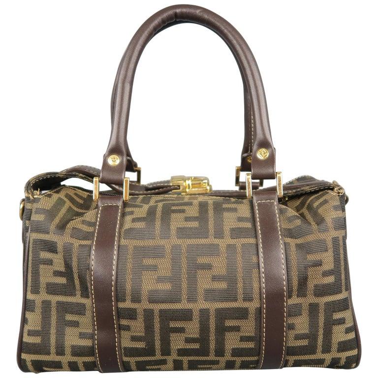 FENDI Zucca Monogram Canvas   Brown Leather 2-Way Mini Boston Bag For Sale dafa37daf4
