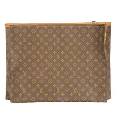 Vintage LOUIS VUITTON Brown Monogram Coated Canvas Lock Zip Luggage Pouch