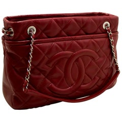 CHANEL Red Caviar Chain Shoulder Bag Large Quilted Leather Silver