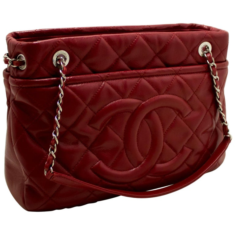 5e4eb7f11b8bdf CHANEL Red Caviar Chain Shoulder Bag Large Quilted Leather Silver For Sale
