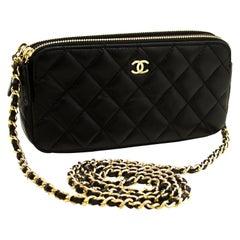 CHANEL Lambskin WOC Wallet On Chain W Zip Chain Shoulder Bag Black