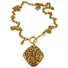 Chanel Vintage Gold Toned Diamond Shaped Textured CC Pendant Necklace