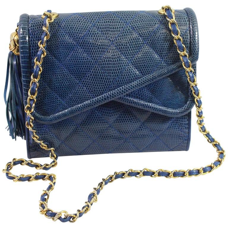 453743204619 Chanel Vintage Blue Lizard Shoulder Bag For Sale at 1stdibs