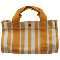 Hermes Orange and Beige Canvas Cannes Bag