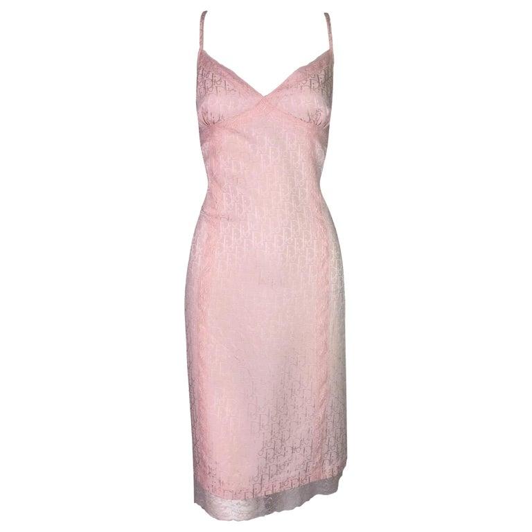 S/S 2000 Christian Dior John Galliano Baby Pink Monogram Logo Slip Dress For Sale