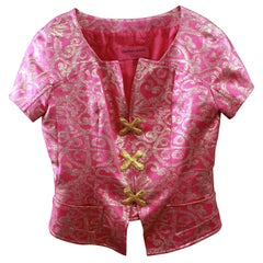 Vintage Christian Lacroix  Pink and Gold Lurex  Short Jacket. S 38