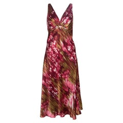 Oscar de la Renta Multicolor Printed Satin Sleeveless A-Line Dress L
