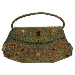 Metallic Jewel Lame Mughal Evening Bag India 1960s