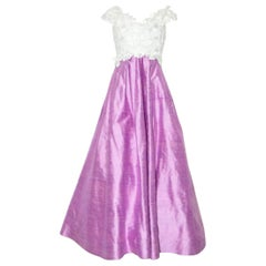 Scaasi White and Pink Silk Shantung Gown with Stole
