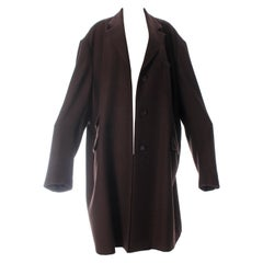 Martin Margiela XXXL oversized brown herringbone wool overcoat, f/w 2001