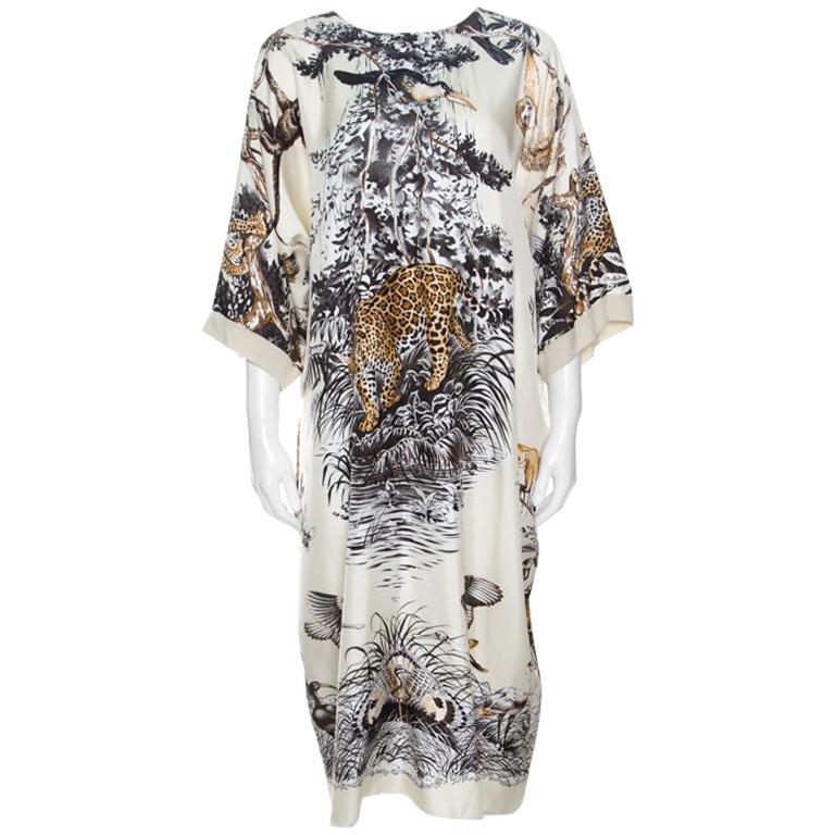 Hermes Cream Jungle Love Print Silk and Cashmere Tunic Dress M For Sale