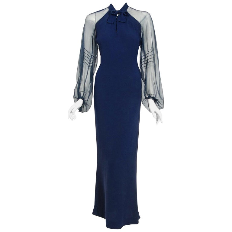 1936 Germaine Monteil Couture Movie Worn Navy Crepe Billow Sleeve Bias-Cut Gown For Sale