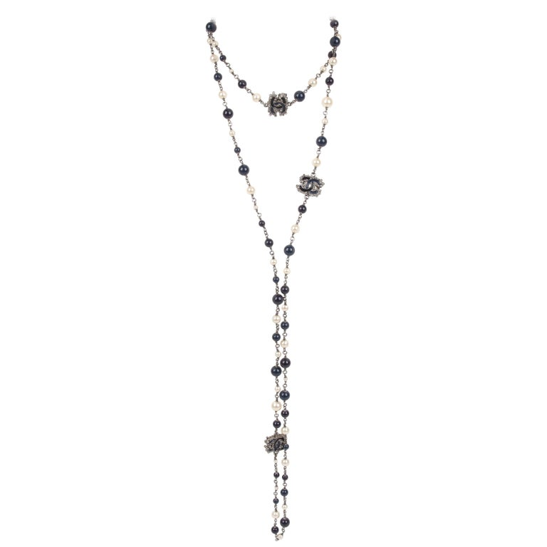 Chanel Pearl & Beaded Necklace - dark blue/white For Sale