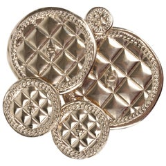 Chanel XL Runway Quilted 5 Medallions Metal Brooch - light gold