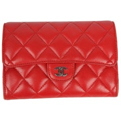 Chanel Quilted Wallet - red leather