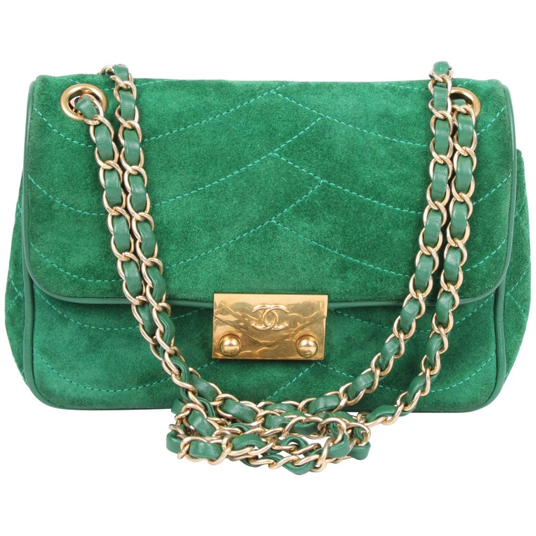 91a602b41bb77b Chanel Scallop Quilted Small Pagoda Flap Bag - green suede For Sale ...