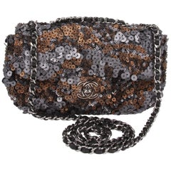 Chanel Mini Classic Sequin Bag - grey/black