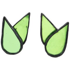 Monique Vedie, Line Vautrin Student Black Resin Clip Earrings Green Mirror