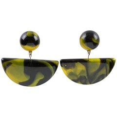Marc Labat Oversized Dangling Geometric Resin Clip Earrings Black Green Marble