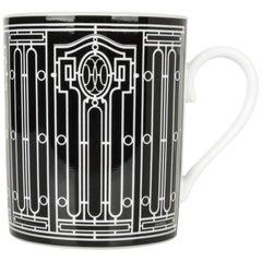 Hermes H Deco Mugs Black w/ White Set of 2 new
