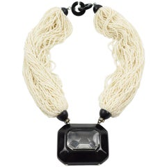 Angela Caputi Pearl Seeds Multi-Strand Statement Choker Necklace Large Pendant
