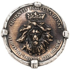 Sterling and Bronze Statement Lion Coin ring