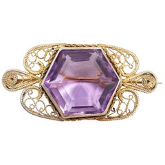 Victorian Art Nouveau Amethyst Pin Brooch in Vermeil Filigree Setting, 1920s