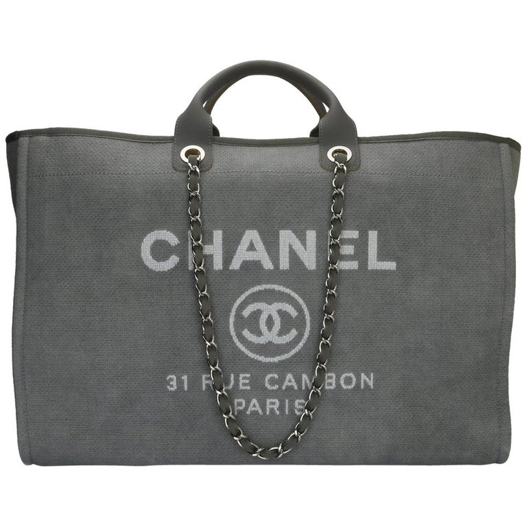 abaecac70f87 CHANEL Deauville Tote XL Grey Canvas with Silver Hardware 2015 For Sale