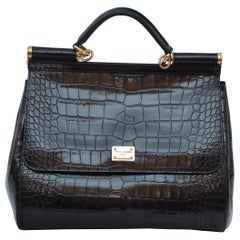 Dolce & Gabbana Crocodile Handbag Large Miss Sicily MINT Retailed $30,000