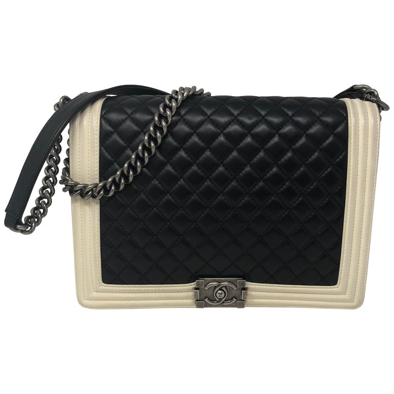 6b1a958826b3 Chanel Black and White Boy Large Bag at 1stdibs