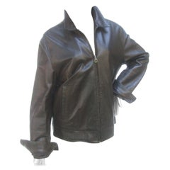 Salvatore Ferragamo Italian Chocolate Brown Leather Unisex Jacket circa 21st C
