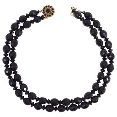 Bergere Black Faceted Jet Double Strand Necklace, Gold Plated Clasp, 1960s