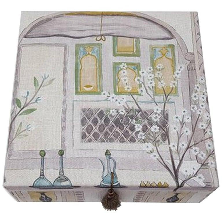 Sultans Garden Sanderson Fabric Decorative Storage Box for Scarves  For Sale