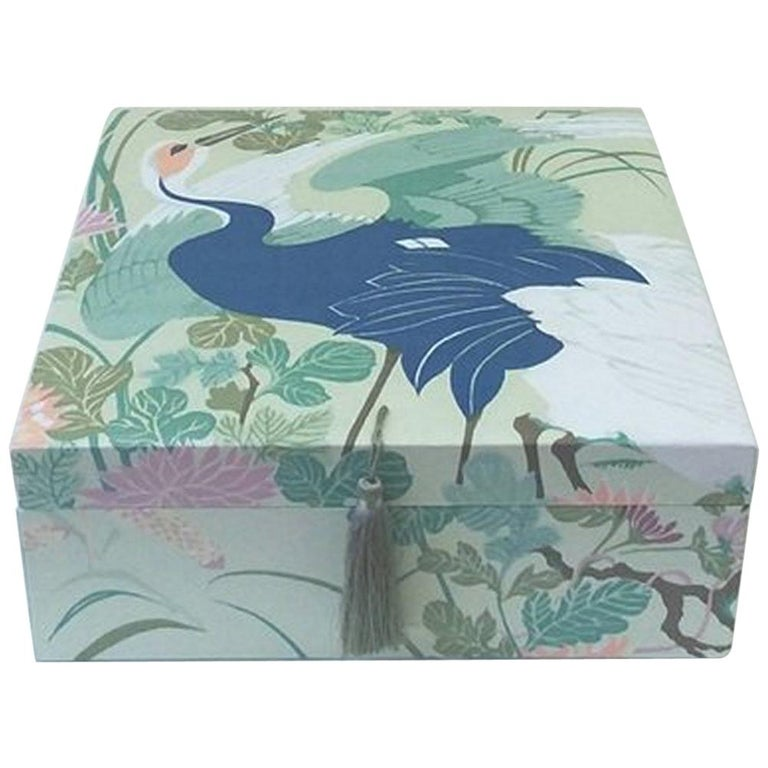 Birds Pattern Fabric Decorative Storage Box for Scarves  For Sale