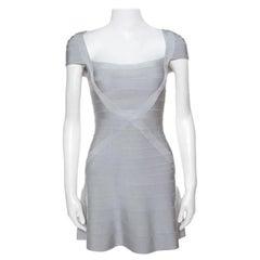 Herve Leger Icy Grey Cap Sleeve Makayla Bandage Skater Dress XXS