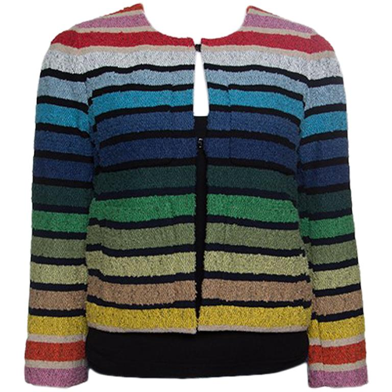 af4341612a Sonia Rykiel Rainbow Striped Textured Cropped Jacket S For Sale at ...
