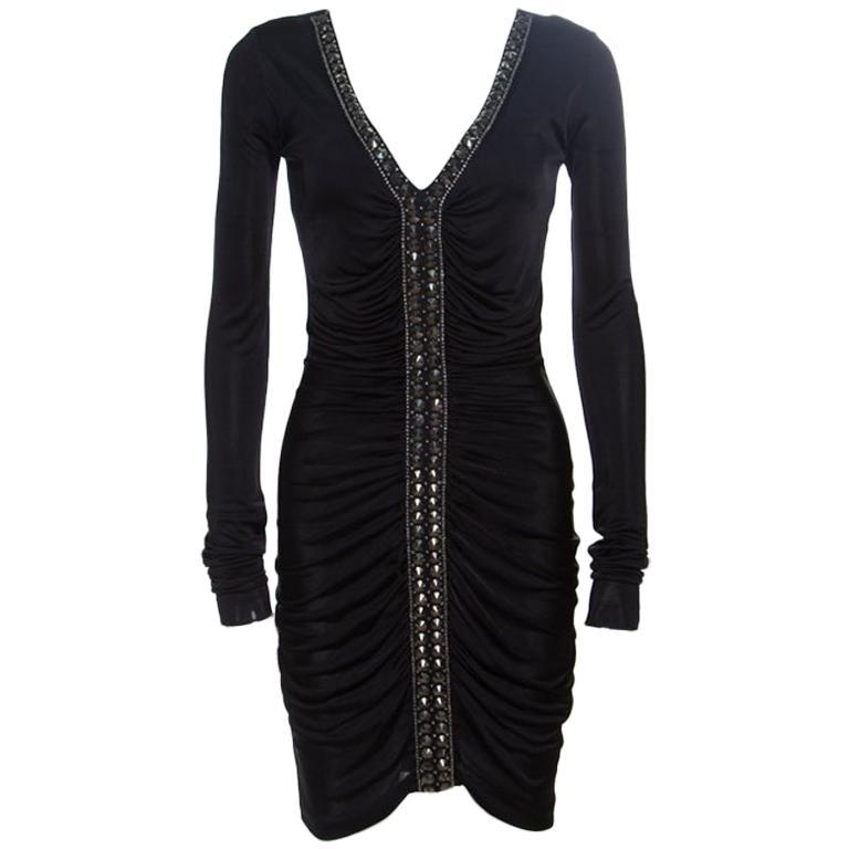 Emilio Pucci Black Ruched Jersey Rhinestone Embellished Long Sleeve