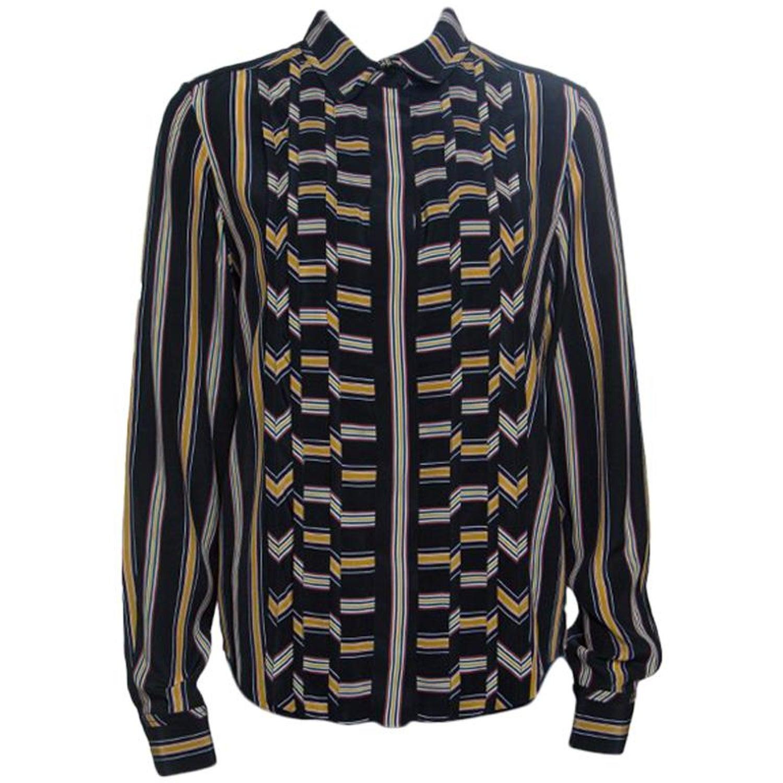 28136a7bdd785 Chloe Black Broken Stripe Print Pintucked Long Sleeve Shirt M