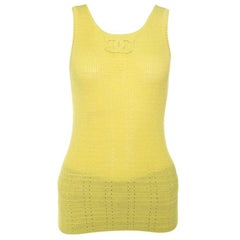 Chanel Yellow Perforated Rib Knit Logo Applique Detail Sleeveless Tank Top S