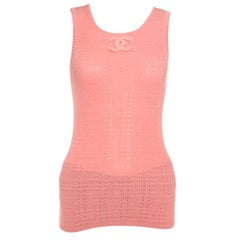 Chanel Peach Perforated Rib Knit Logo Applique Detail Sleeveless Tank Top M