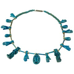 Antique Blue Glaze Faience Porcelain Amulet Estate Necklace