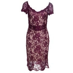 Emilio Pucci Burgundy Floral Lace Scalloped Trim Ruched Dress S