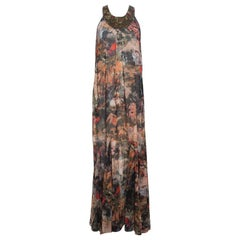 Alice + Olivia Jungle Safari Print Embellished Silk Shona Maxi Dress M