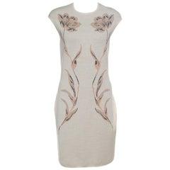 Alexander McQueen Beige Floral Jacquard Lurex Knit Pencil Dress XL